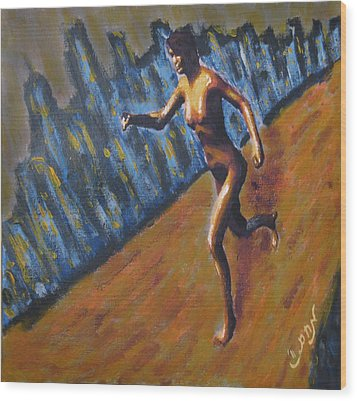 Wood Print featuring the painting Running Nude Female Goddess On The Muddy Skyline Of Chicagos Lakefront by M Zimmerman