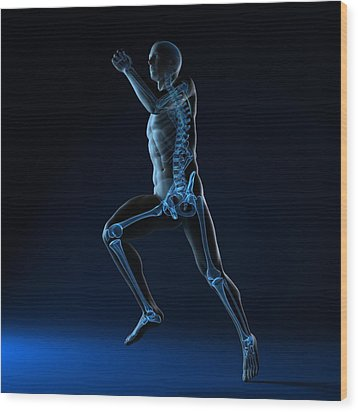 Running Skeleton, Artwork Wood Print by Sciepro