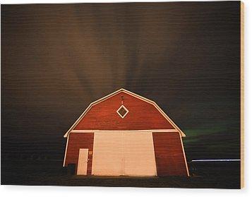 Rural Barn Night Photograhy Wood Print by Mark Duffy