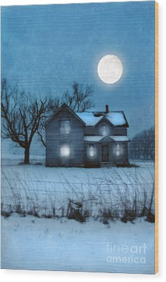 Rural Farmhouse Under Full Moon Wood Print by Jill Battaglia