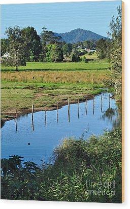 Rural Landscape After Rain Wood Print by Kaye Menner