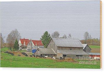 Rural Vermont Farm Scene Wood Print by Deborah Benoit