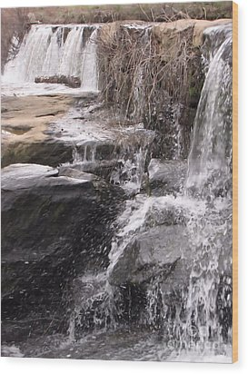 Rushing And Flowing Wood Print by Michelle H