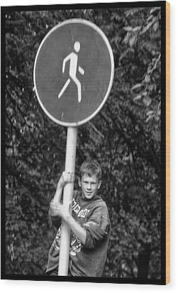 Wood Print featuring the photograph Russian Boy On Sign by Rick Bragan