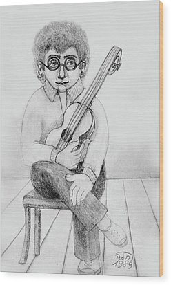 Russian Guitarist Black And White Art Eyeglasses Long Curly Hair Tie Chin Shirt Trousers Shoes Chair Wood Print by Rachel Hershkovitz