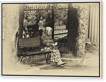 Wood Print featuring the photograph Russian Woman In Park by Rick Bragan