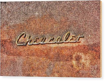 Rusted Antique Chevrolet Logo Wood Print by Dan Stone