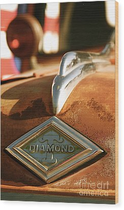 Rusted Antique Diamond Car Brand Ornament Wood Print by ELITE IMAGE photography By Chad McDermott