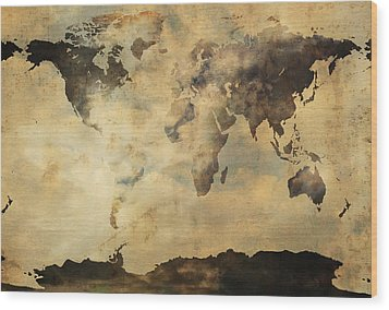 Rusted Metal World Map Wood Print by Stephen Walker