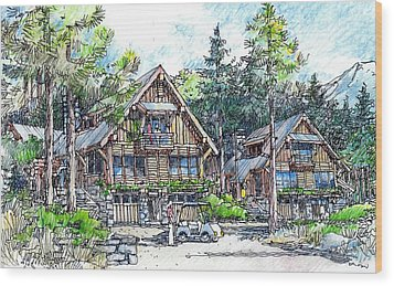 Rustic Cabins Wood Print by Andrew Drozdowicz