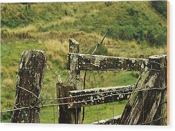 Rustic Fence Wood Print by Marilyn Wilson