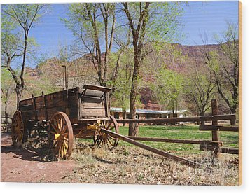 Rustic Wagon At Historic Lonely Dell Ranch - Arizona Wood Print by Gary Whitton