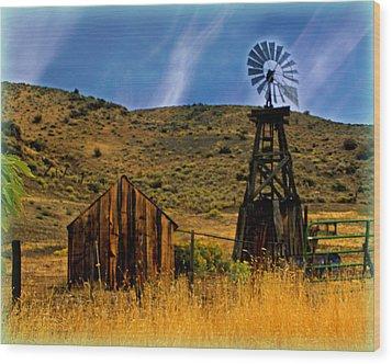 Rustic Windmill Wood Print by Marty Koch