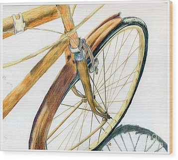 Rusty Beach Bike Wood Print