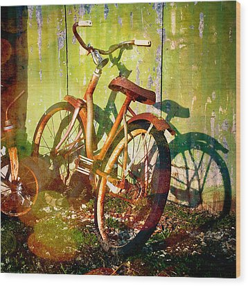 Rusty Bikes Wood Print by Sonja Quintero