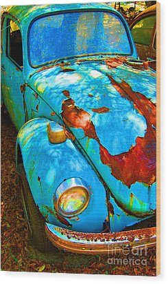Rusty Blue Wood Print by Kendra Longfellow