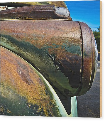 Rusty Dodge Lights Wood Print