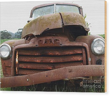 Rusty Old Gmc Truck . 7d8396 Wood Print by Wingsdomain Art and Photography