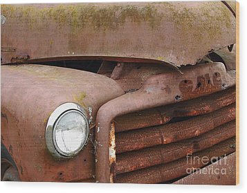Rusty Old Gmc Truck . 7d8403 Wood Print by Wingsdomain Art and Photography