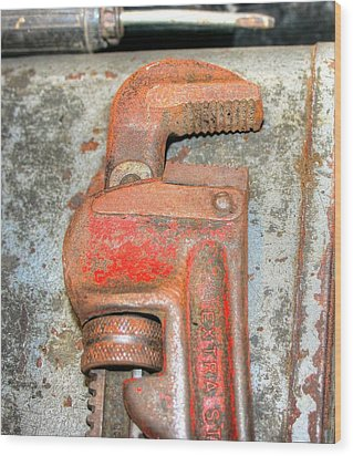 Rusty Pipe Wrench Wood Print by Ester  Rogers