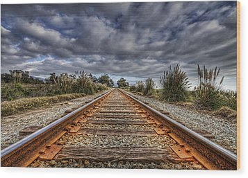 Rusty Rail Line And Fog Clouds Wood Print by Lachlan Kay