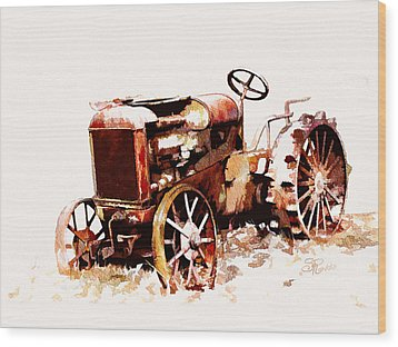 Rusty Tractor In The Snow Wood Print