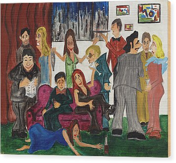 Wood Print featuring the painting Ruthys Party by Stuart B Yaeger