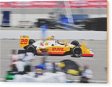Ryan Hunter-reay Exiting Pit  Road Wood Print by Jarvis Chau