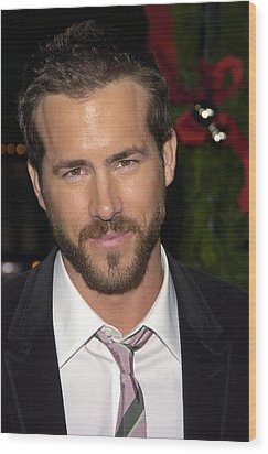 Ryan Reynolds At Arrivals For Just Wood Print by Everett