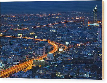 S Curve At Bangkok City Night Scene Wood Print by Arthit Somsakul