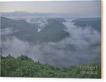 Saar Loop In The Morning Fog Wood Print by Heiko Koehrer-Wagner