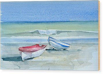 Sabinillas Fishing Boats Wood Print by Stephanie Aarons
