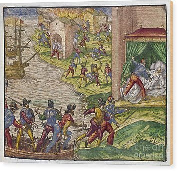 Sack Of Cartagena, C1544 Wood Print by Granger