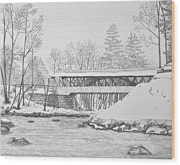 Saco River Bridge Wood Print by Tim Murray