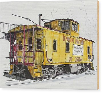 Wood Print featuring the painting Sacramento Caboose by Terry Banderas