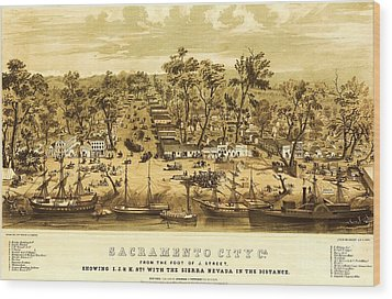 Sacramento City Wood Print by Pg Reproductions
