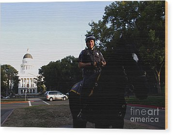 Sacramento Police Mounted Association Horse Patrol At The California State Capitol . Spma . 7d11785 Wood Print by Wingsdomain Art and Photography