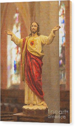 Sacred Heart Of Jesus Wood Print by Clarence Holmes