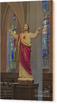 Sacred Heart Of Jesus Wood Print by Susan Candelario