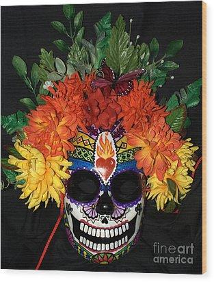 Sacred Heart Sugar Skull Mask Wood Print by Mitza Hurst