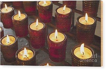 Sacrificial Candles Wood Print by Heiko Koehrer-Wagner