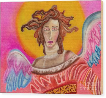 Sad Angel Wood Print by Christine Perry