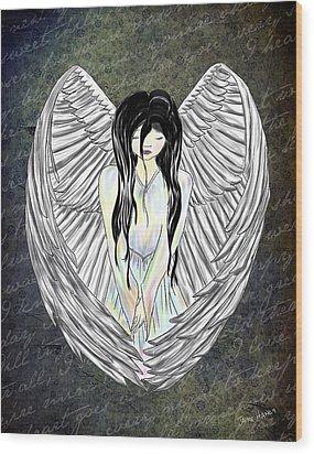 Sad Angel Wood Print