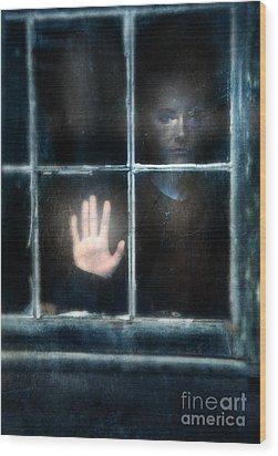 Sad Person Looking Out Window Wood Print by Jill Battaglia