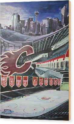 Saddledome- Calgary Flames Wood Print by Chris Ripley