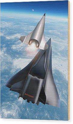 Saenger Horus Spaceplane, Artwork Wood Print by Detlev Van Ravenswaay