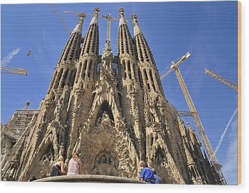 Sagrada Familia - Impressive Church From Gaudi In Barcelona Wood Print by Matthias Hauser