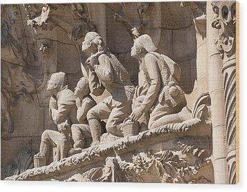 Sagrada Familia Barcelona Nativity Facade Detail Wood Print by Matthias Hauser