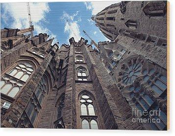 Sagrada Familia In Barcelona Wood Print by Design Remix