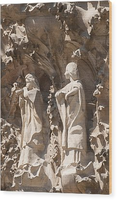 Sagrada Familia Nativity Facade Detail Wood Print by Matthias Hauser